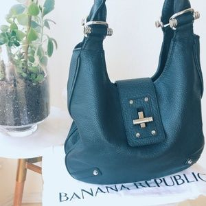 Banana Republic Black Pebble Turnlock Shoulder Bag